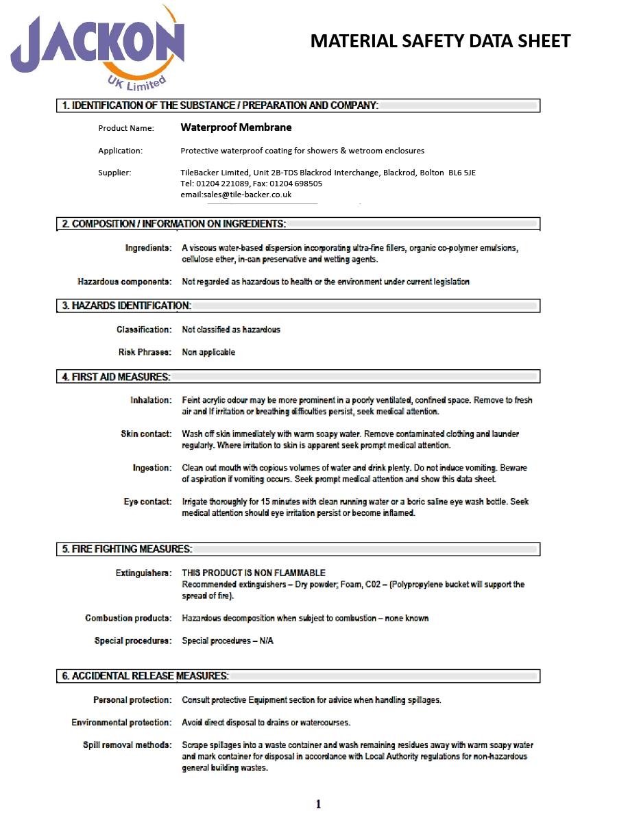 JACKOBOARD Waterproofing Membrane Safety Data Sheet