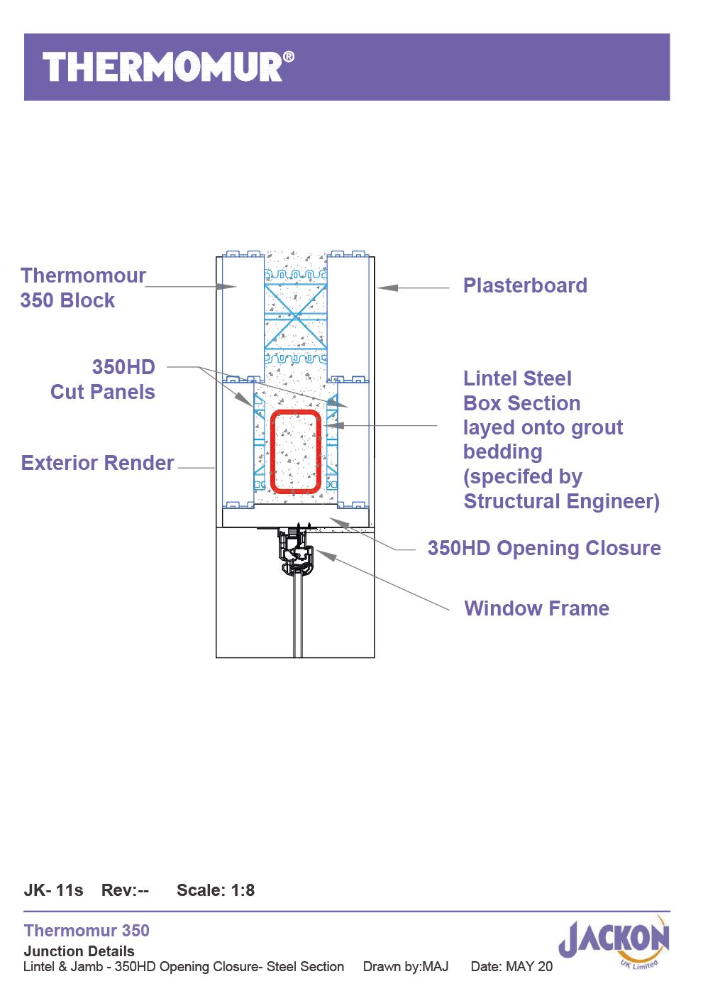 JK-11s Lintel & Jamb-350HD Opening Closur- Steel Section