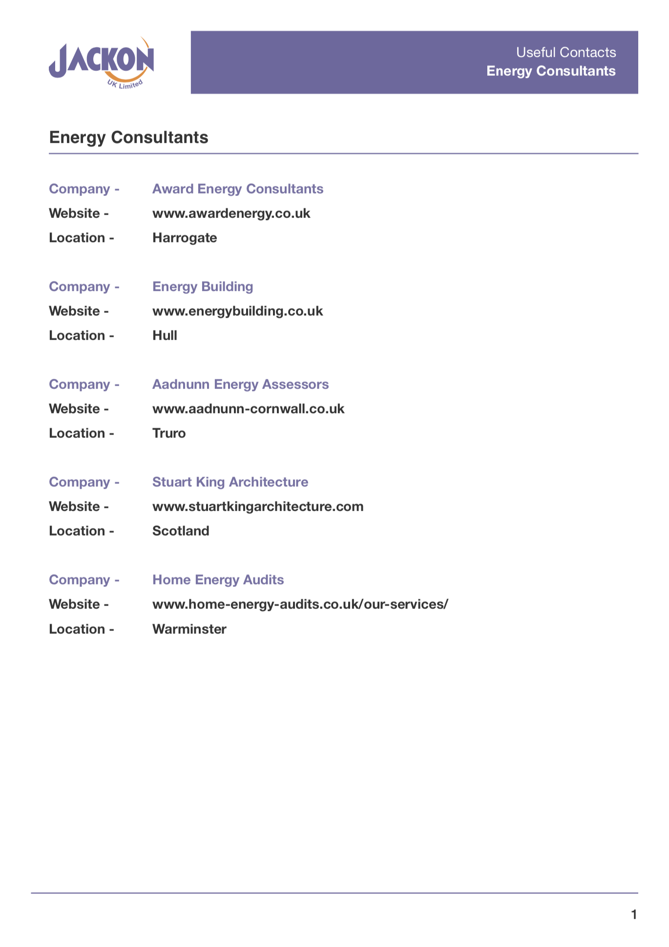 Useful Contacts – Energy Consultants