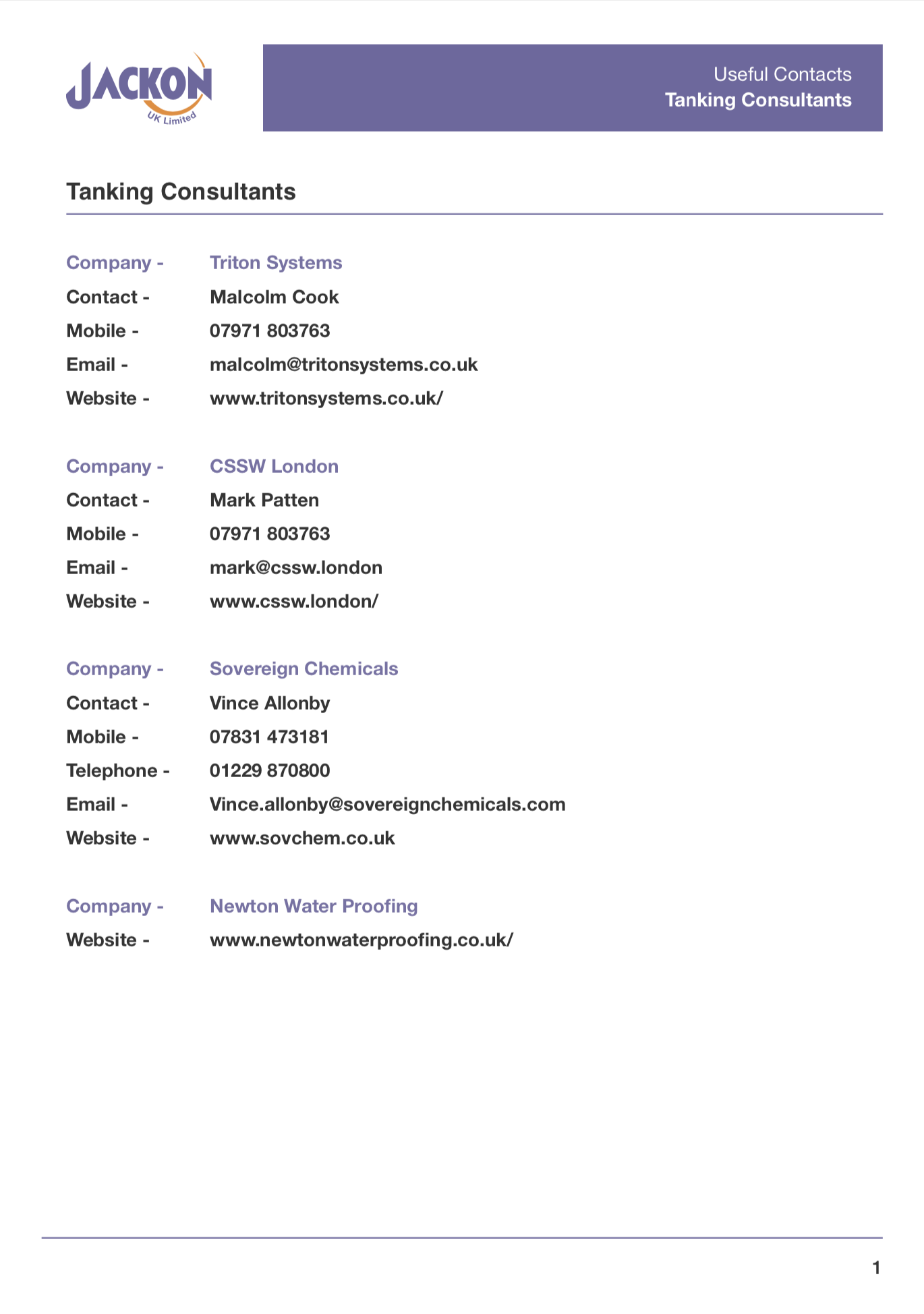 Useful Contacts – Tanking Consultants